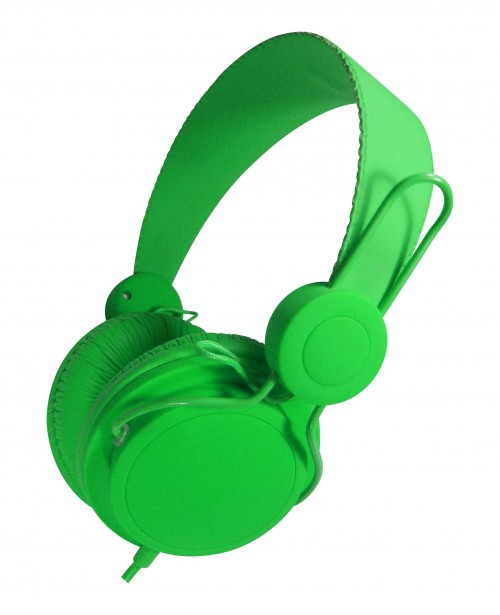 green headphone
