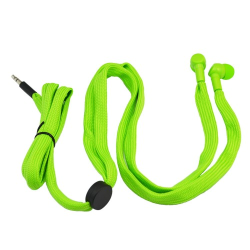 green shoelace earphone