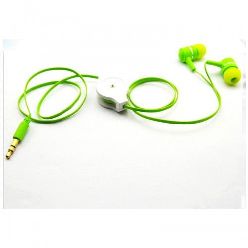 green retractable earphones