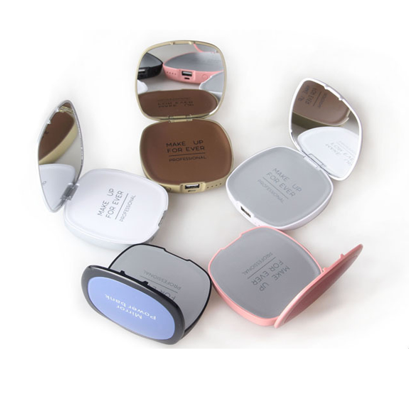 Branded Power Bank With Mirror 4000mah For Lady Fashion