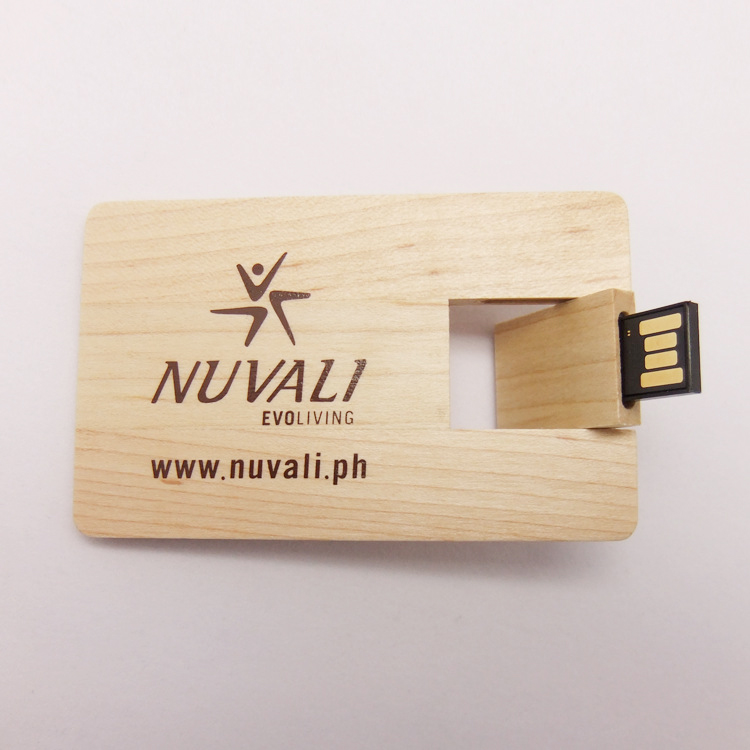 wooden credit card sized usb flash drive with engraved logo. Black Bedroom Furniture Sets. Home Design Ideas