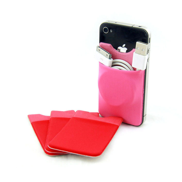Stick On Phone Wallet Credit Card Pocket With Logo